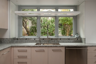 Kitchen sink with view to outside